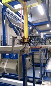 Automatic double-row galvanic line for decorative plating of parts mounted on hinges or drums