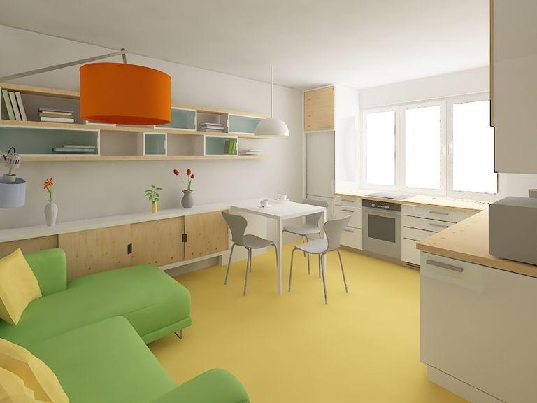Byt strasnice 01 obyvaci prostor s kuchyni