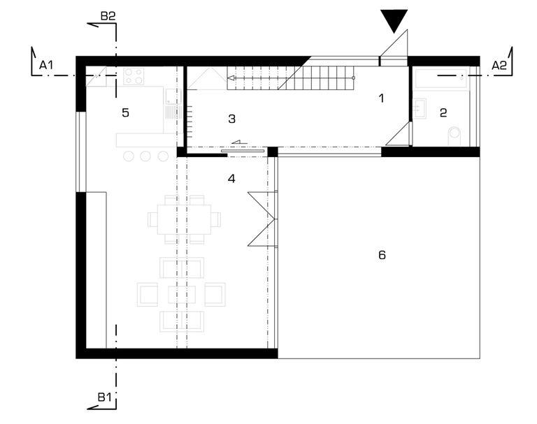 půdorys 1NP – modulový dům | Horalík Atelier
