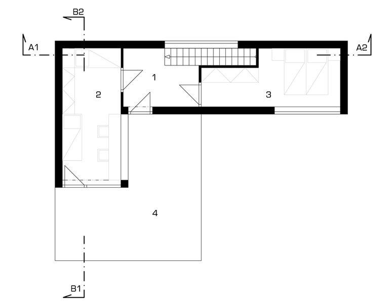 půdorys 2NP – modulový dům | Horalík Atelier