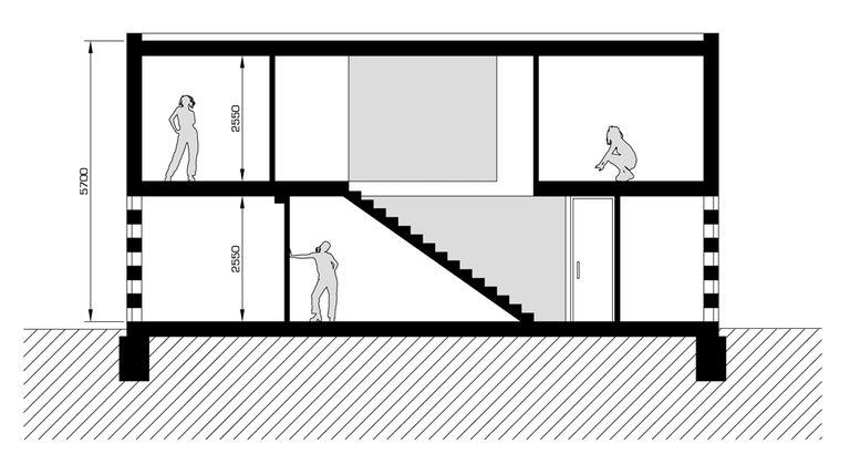 řez – modulový dům | Horalík Atelier
