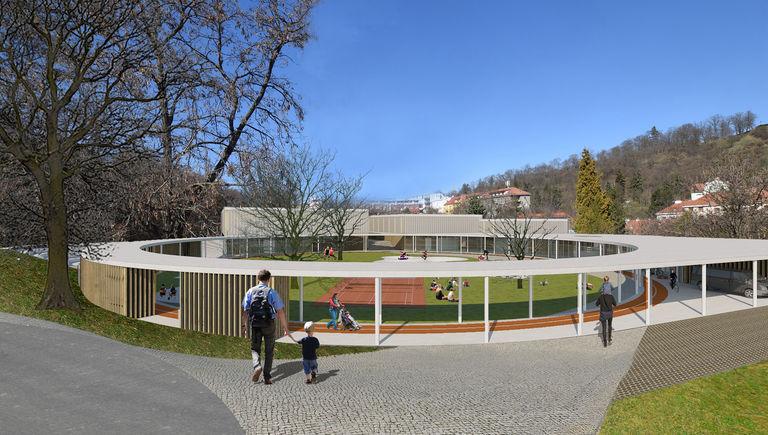 pohled na hlavní vstup do areálu – Dětské sportovně - kulturní centrum Staré Brno | Horalík Atelier