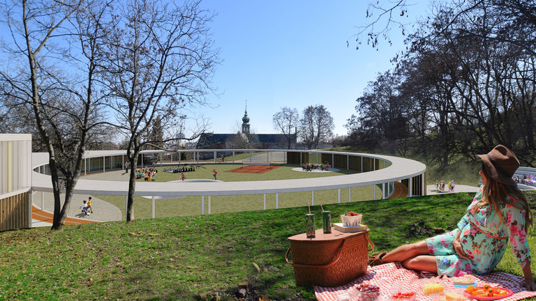 pohled s klášterem v pozadí – Dětské sportovně - kulturní centrum Staré Brno | Horalík Atelier
