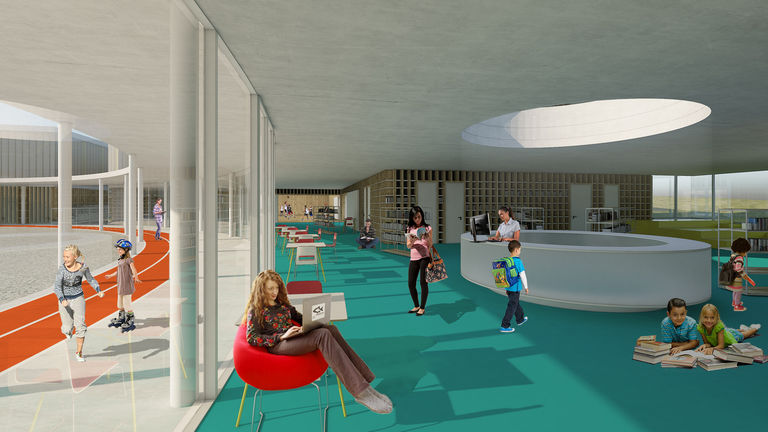 interiér foyer s knihovnou – Dětské sportovně - kulturní centrum Staré Brno | Horalík Atelier