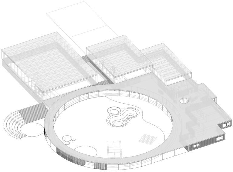 axonometrie – Dětské sportovně - kulturní centrum Staré Brno | Horalík Atelier