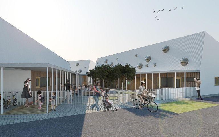 areál školky se otevírá směrem ke vstupu a vytváří tak vstupní nádvoří – mateřská škola v semilech | Horalík Atelier
