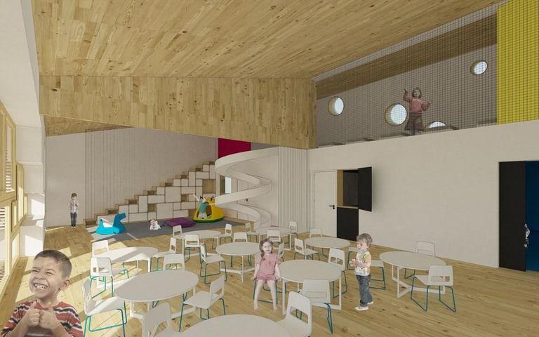 interiér typické třídy s hernou v přízemí a lehárnou v patře. návrat do herny probíhá zpravidla po skluzavce – mateřská škola v semilech | Horalík Atelier