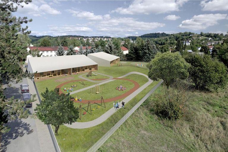 pohled na zahradu z ptačí perspektivy – mateřská škola v semilech | Horalík Atelier