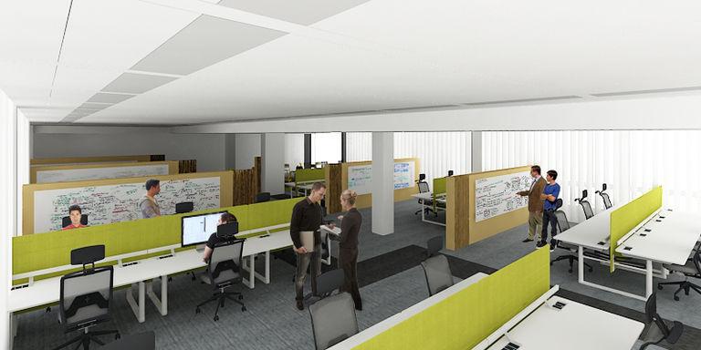 návrh - stažené paravány – kanceláře AVAST mobile II | Horalík Atelier