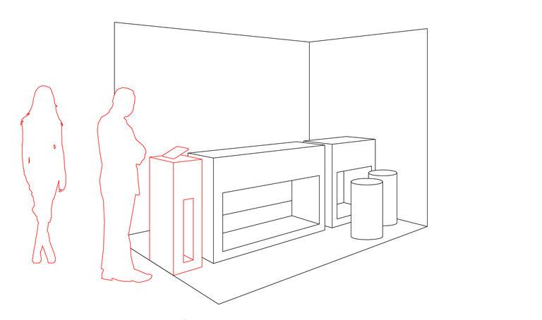 Seznamovací stolek - získání pozornosti kolemjdoucích, mohou se nezávazně seznámit s produktem - návštěvník je stále mimo prostor stánku, může kdykoli odejít - na stolku je umístěn ipad s prezentační slideshow – výstavní stánek INMITE | Horalík Atelier