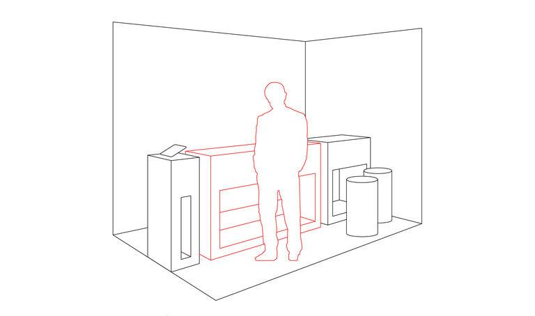 Testovací stolek - zaujmutý návštěvník má možnost si prezentovaný produkt vyzkoušet ve 3 krocích - návštěvník se už ocitá v prostoru stánku - na stolku je prototyp produktu doplněný intuitivními vysvětlujícími piktogramy – výstavní stánek INMITE | Horalík Atelier