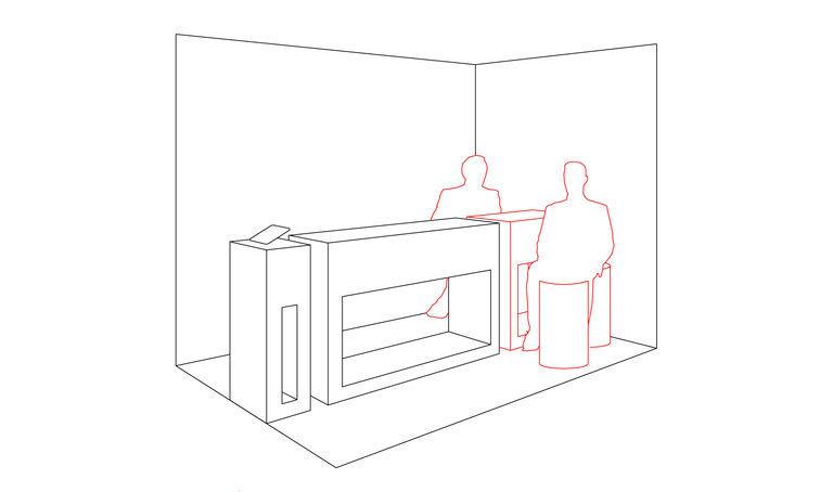 Jednací stolek - získání detailních informací o produktu, diskuze s prezentujícími - návštěvník se ocitá v rohu stánku, má krytý bok, cítí se tak v bezpečí - na stolku jsou umístěny propagační materiály a lehké občerstvení – výstavní stánek INMITE | Horalík Atelier