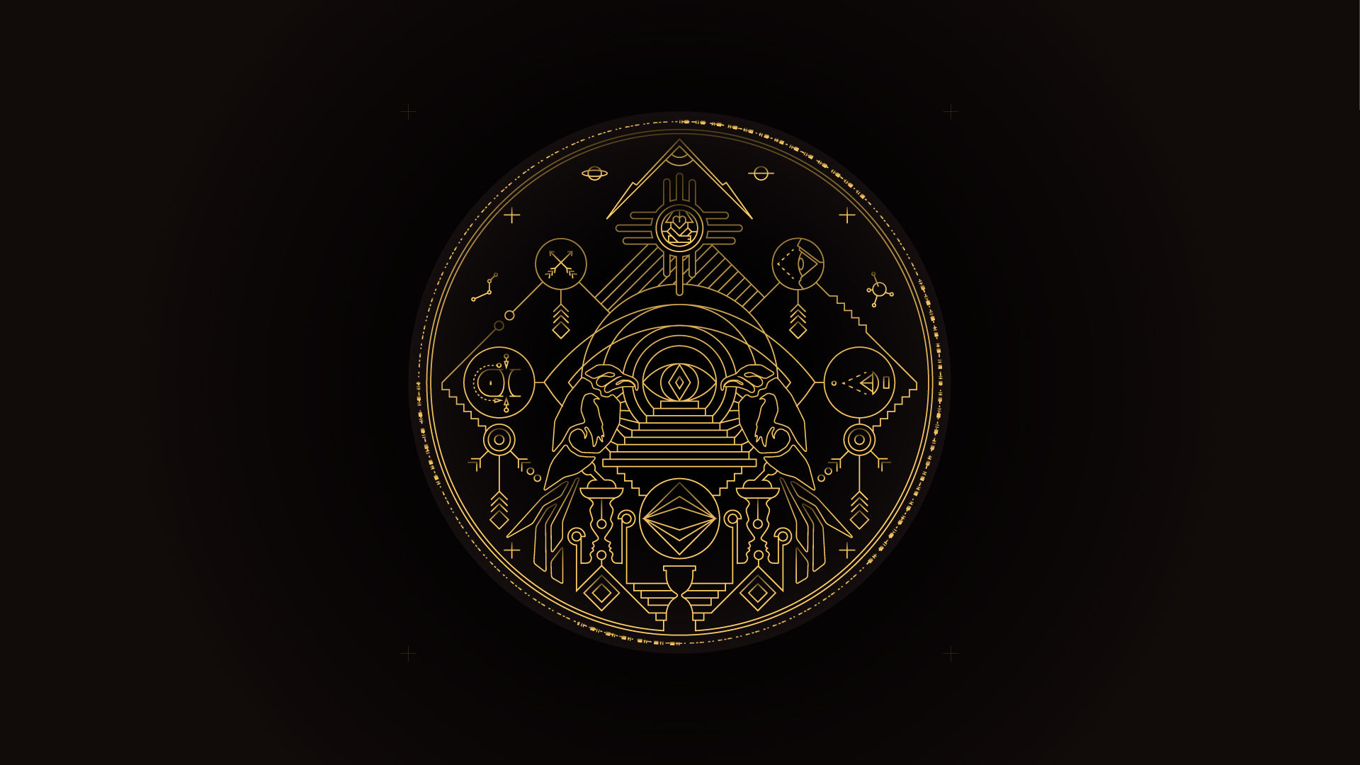 Enigmatický emblém na víku krabice zrcadla; pro zlatou variantu rámu