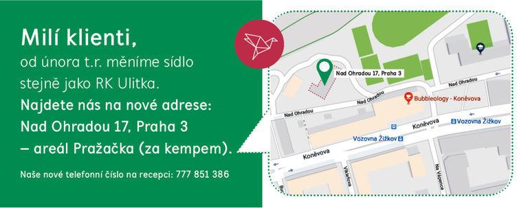 RK Ulitka od 12.2.2018 na nové adrese - Nad Ohradou 17, Praha 3.